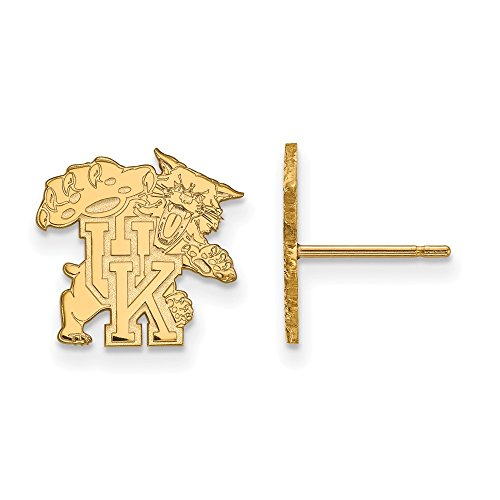 - 14k Yellow Gold University of Kentucky Wildcats Mascot Logo Earrings S - (13 mm x 13 mm)