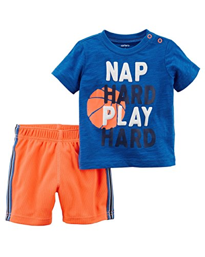 Carter's Baby Boys' 2 Piece Nap Hard Play Hard Tee and Shorts Set 12 ()