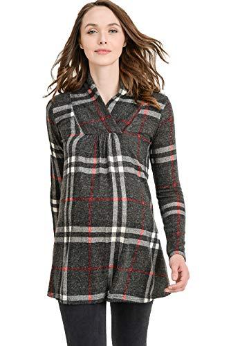 Hello MIZ Women's Sweater Knit Maternity Long Sleeve Tunic Top (Charcoal Plaid, L) by Hello MIZ