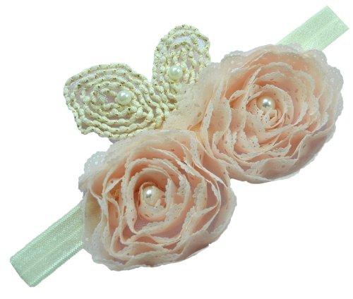 Infant Girls Vintage Chiffon Rosette Flower Elastic Headband By Funny Girl Designs (0-12 Months, Pale Pink)