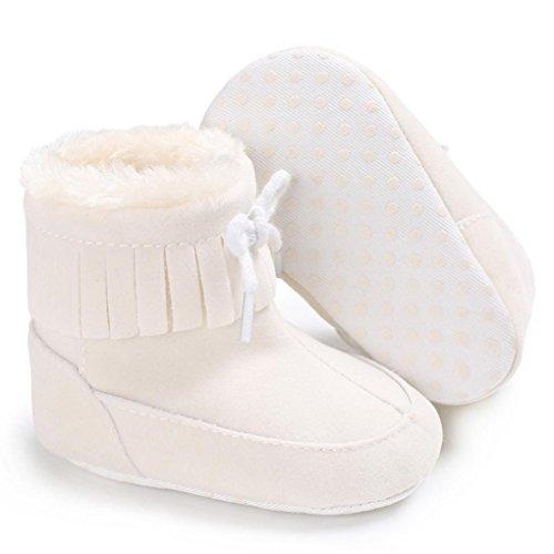 Xshuai Baby Junge Mädchen Sole Snow Anti-Rutsch-Design Stiefel Soft Crib Soft Material Schuhe Kleinkind Stiefel (0-18 Monate Weiß / Schwarz / Rosenrot / Blau / Orange / Rosa) Weiß