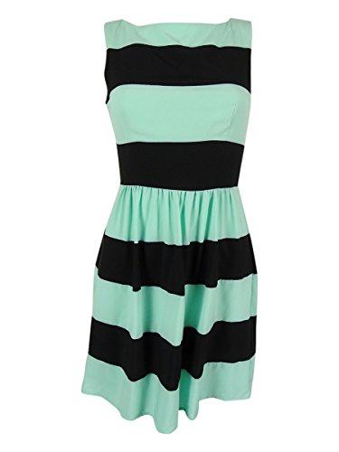Bee Darlin B Darlin Juniors' Sleeveless Striped Dress (5/6, Mint/Black)