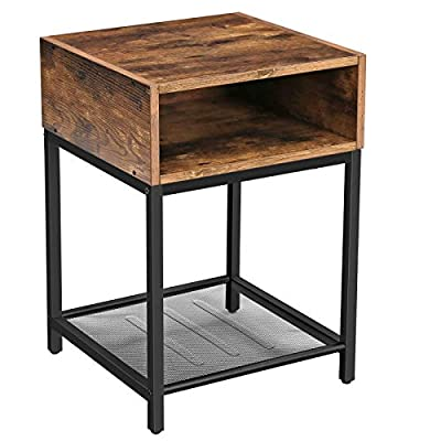 "VASAGLE INDESTIC Nightstand, End Table with Open Compartment and Mesh Shelf, Side Table, Bedroom, Easy Assembly, Space Saving, Industrial, Rustic Brown ULET46X - 3 STORAGE OPTIONS: A 15.7"" x 15.7"" rustic brown surface, a spacious compartment, and a sturdy mesh shelf—this side table offers 3 different shelves for books, TV accessories, your glasses, or plants TRY WHERE IT FITS BEST: As a nightstand next to your bed, an end table next to the couch in the living room, or as an additional shelf in the study—try out where this side table fits you best ASSEMBLY YOU'LL LOVE: Thanks to the manageable number of individual parts and the easy-to-understand instructions, this side table is easy to assemble. In just a few steps, you have a stable metal and wood mix to fall in love with - nightstands, bedroom-furniture, bedroom - 41tR0o2NEhL. SS400  -"