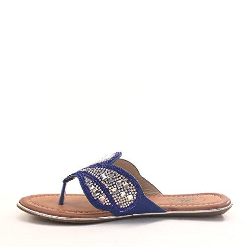 New Brieten Womens Rhinestone Studded Floral Flip Flops Thong Slide Sandals Blue XIpahkEbb
