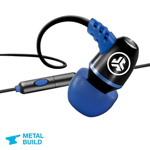 JLab Audio Metal Wired Rugged Earbuds | Titanium 8mm Drivers | Universal Mic for iPhone & Android | Noise Isolation | Cable Clip | IP55 Sweat Proof Rating Extra Gel Tips & Cush Fins | Black / Blue