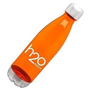 BPA-Free Sport Water Bottles 25 oz, Tritan Non Toxic Plastic, Reusable Flask with Stainless Steel Leak Proof Twist Off Cap & Steel Base, Cola Bottle Shape, Orange 25oz