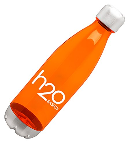 BPA-Free Sport Water Bottles 25 oz, Tritan Non Toxic Plastic, Reusable Flask with Stainless Steel Leak Proof Twist Off Cap & Steel Base, Cola Bottle Shape, Orange 25oz