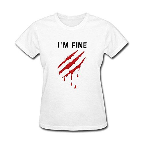 Twentees Printed Graphic Women's I'm Good T Shirt Crewneck White ()