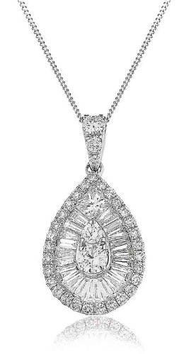 1.30CT Certified G/VS2 Baguette and Round Brilliant Cut Pear Shape Diamond Pendant in 18K White Gold
