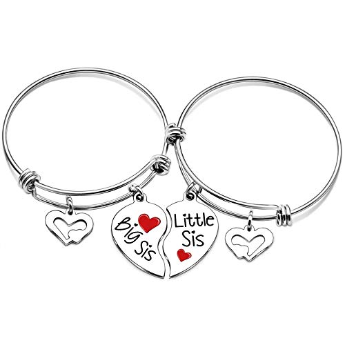 lauhonmin Sister Bangle Bracelets for Big Sister Little Sister Heart Charms Double Pendant Pack of 2 ()
