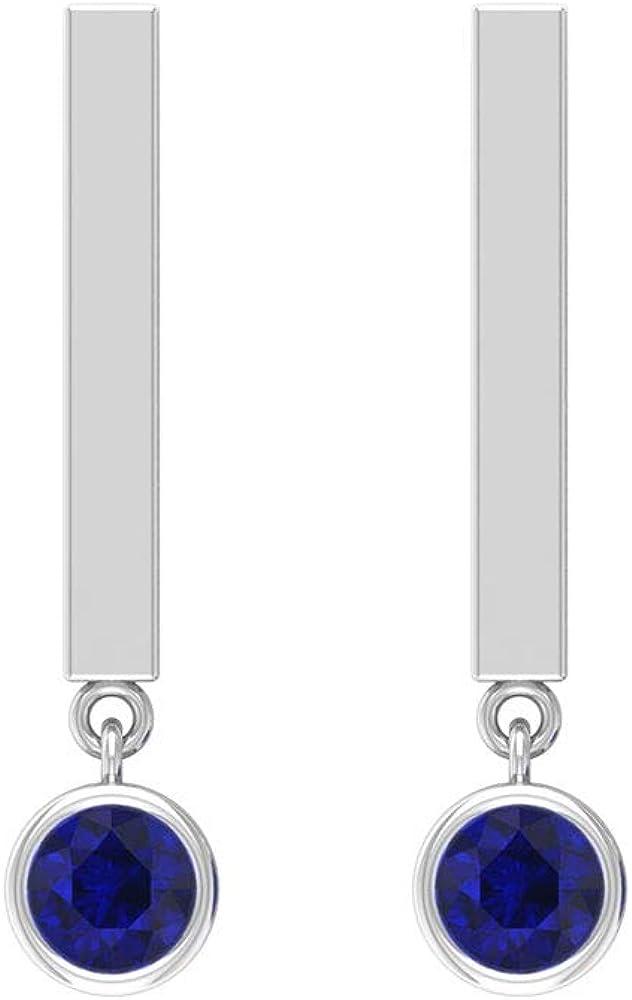Pendientes de gota de zafiro azul certificado SGL de 0,3 ct, solitario, con piedras preciosas, estilo clásico, para mujer, barra vertical, declaración nupcial, boda, tornillo hacia atrás