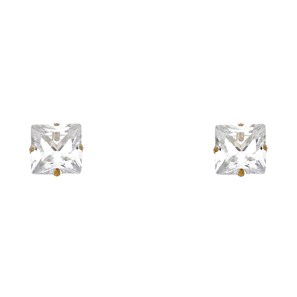 Sonia Jewels 14k Yellow Gold Cubic Zirconia CZ 3-7mm Princess Cut Square Stamp Screw Back Womens Stud Earrings