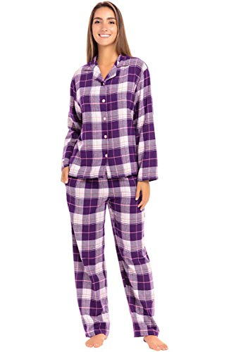 - Alexander Del Rossa Women's Warm Flannel Pajama Set, Long Button Down Cotton Pjs, XL Purple Plaid (A0509P65XL)