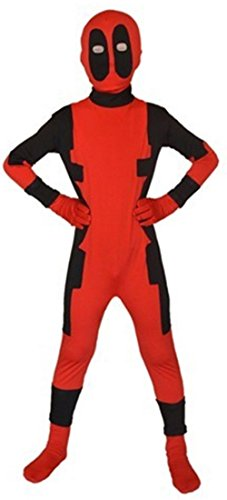 Sheface Kids Red & Black Spandex Full Bodysuit Fancy Dress Costume(Small, Red / Black)