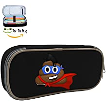 Durable Stationery With Double Zipper Large Capacity Poop Emojis Stationary Box Make Up Bag Pen Bag Pencil Case