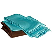 Koyal Wholesale Linens Party Kit, Includes 120-Inch Brown Round Polyester Tablecloth with Satin Table Runner and 10-Pack Turquoise Satin Chair Bow Sash