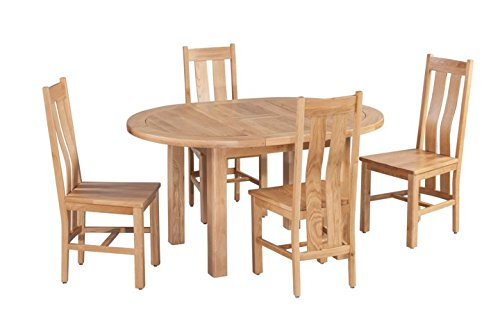Trithi Furniture Rancho American Solid Oak Oval Extendable Table and Wood Seat Chair Set of 5 - Natural Oak - 100% American Solid Oak Oval Extendable Table and Wooden Seat Chairs in Natural Color Table and Chair Dimensions (Inch): L57.00/42.00, W:42.00, H:30.00 | L16.50, W:18.00, H:40.50 - kitchen-dining-room-furniture, kitchen-dining-room, dining-sets - 41tR2wnSLZL -