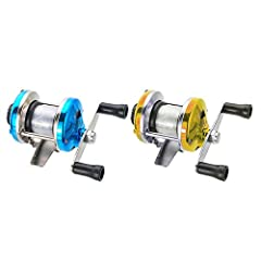 Description:Color: gold,blueMaterial: metalRotate Ratio:3.0:1Net Weight: Approx.90g /pcLine capacity: 2fishing line 100mPackage include 2*Fishing Spinning ReelNote:1. 1 inch=2.45cm/1cm≈0.393inch2. Please allow 1-3 cm error due to manual mea...