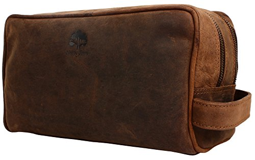 Genuine Leather Travel Toiletry Bag   Dopp Kit Organizer By Rustic Town