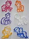 MY LITTLE PONY FRIENDSHIP IS MAGIC CARTOON CHARACTERS PINKIE PIE RAINBOW DASH RARITY APPLEJACK TWILIGHT SPARKLE FLUTTERSHY ALICORN UNICORN PEGASUS PONIES SET OF 6 COOKIE CUTTERS MADE IN USA PR1077
