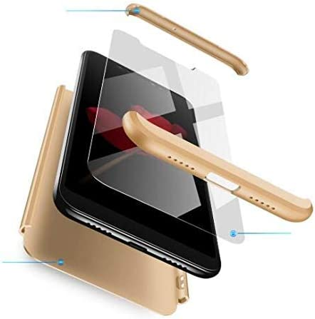BIKANA Funda Compatible para Xiaomi Redmi 5 Plus Carcasa[1*Cristal Templado] 3 in 1 Slim 360°Full-Protección PC Rígide Textura Mate Antideslizante Anti-caída Caso Cover-Gold