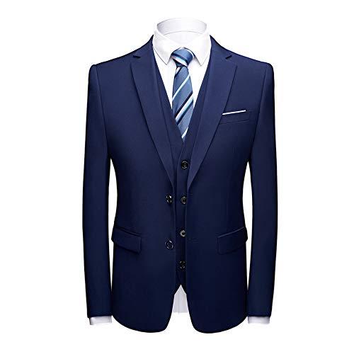 MAGE MALE Men's 3 Pieces Suit Elegant Solid Two Button Slim Fit Single Breasted Party Blazer Vest Pants Set