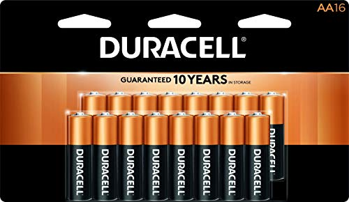 12 Pack Aa Alkaline Batteries - Duracell - CopperTop AA Alkaline Batteries - long lasting, all-purpose Double A battery for household and business - 16 count