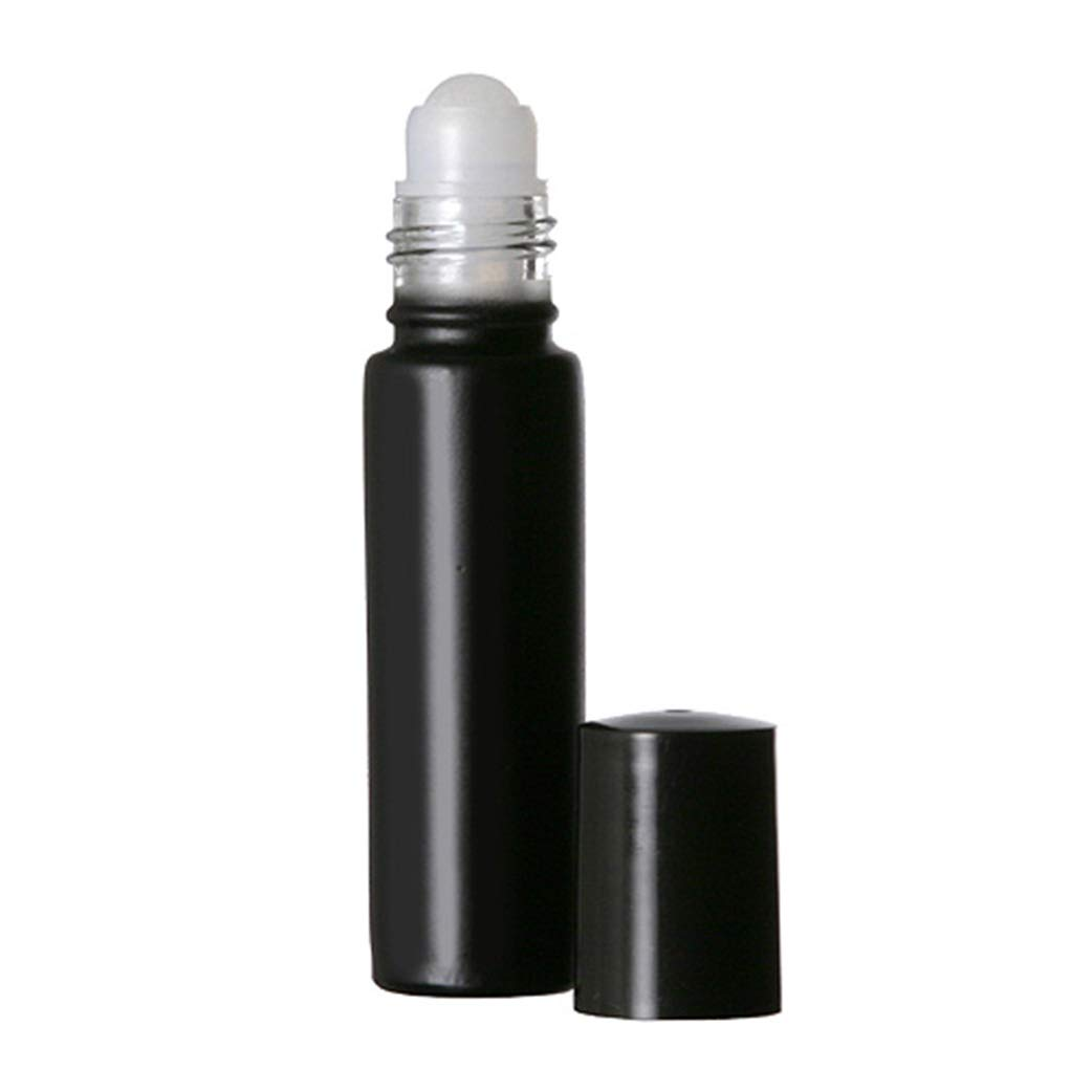 10 ml. Glass Roll on Bottle. Perfect for Essential Oils Aromatherapy, Perfume and Cologne. Plastic Roller Color or Clear Based on Availability. Pipettes Included (144 Bottles, Black)