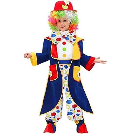 Vestito Costume Maschera Di Carnevale Baby Pagliaccio Clown