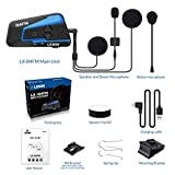 LEXIN LX-B4FM 4 Riders Motorcycle Intercom, Universal Helmet Communication System, Waterproof Bluetooth Headset with Speakers for Motorcycle Helmet 1600m Range