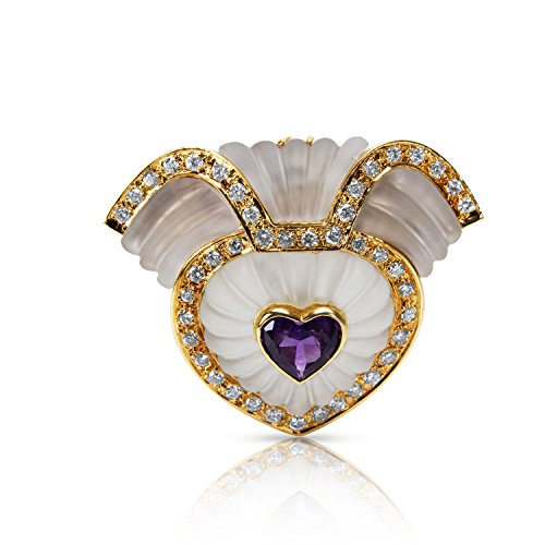 (BRAND NEW Frosted Quartz, Diamond & Amethyst Heart Brooch in 14k YG (2.00 CTW))