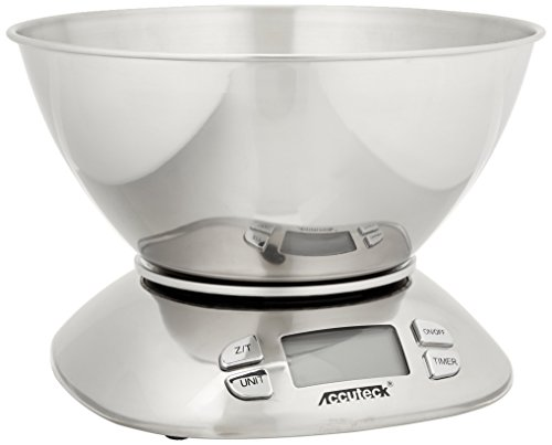 Accuteck A-KC12 Digital Kitchen Scale with Mixing bowl, 12 lbs, Certified Food-Grade Stainless Steel