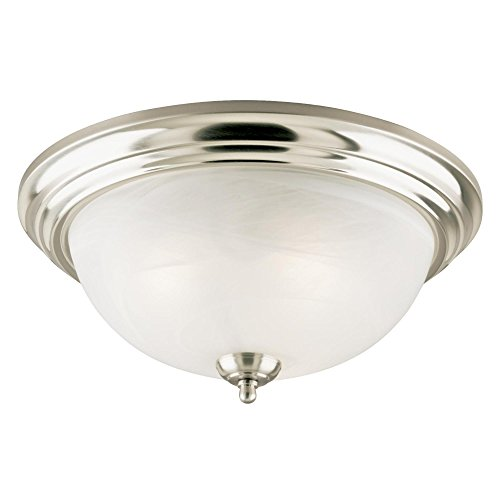 Westinghouse 6436000 Three-Light Flush-Mount Interior Ceiling Fixture, Brushed Nickel Finish with Frosted White Alabaster (Alabaster Glass Finish)
