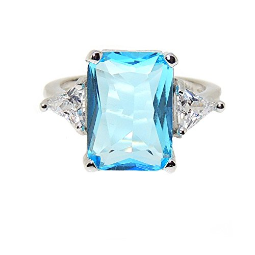 Ginger Lyne Collection Myriam Lab Grown Blue Topaz Exquisite 8.5 Carat Emerald Cut Ring