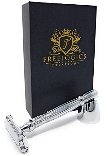 FREELOGICS Double Edge Safety Razor Kit with Stand - Extra Long Handled - Traditional Straight Butterfly Best Razors for Men or Women - Stainless Steel Double Edge Shaving Blades with Refills Holders