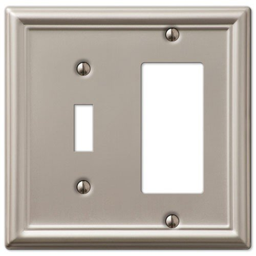 Decorative Wall Switch Outlet Cover Plates (Brushed Nickel, Toggle Rocker) - Brushed Nickel Triple Rocker