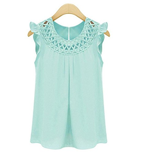 Femme Chemise - Hello-one New Arrival Women Blouses Chiffon Shirts O-Neck Summer Sleeveless Chemise Femme Vintage Shirt Tops Solid Fashion Green L