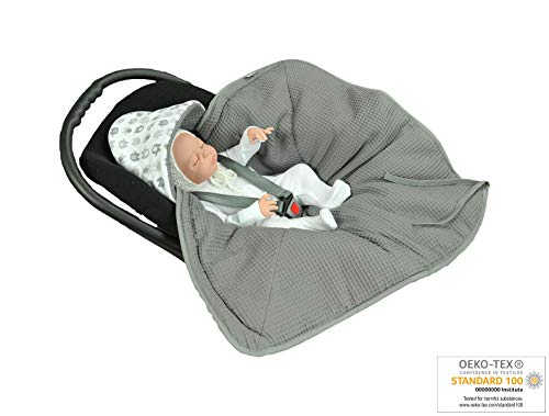 - MoMika Swaddling Blanket | Bunting Bag I Universal Fit for Car Seat | Stroller | Buggy or Baby Bed| 100% Cotton (Graphite-Elephant)