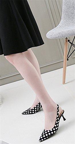 Trasera Femeninos Verano Primavera Estiletes 34 De Acentuados Black Nvxie Y 38 Zapatos 5cm Correa Sandalias Salvajes IxXqwv