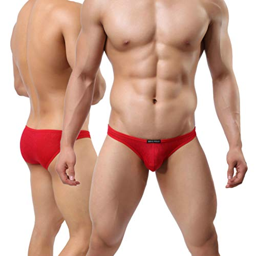 Underwear Bikini Nature - MuscleMate Hot Men's Bikini Underwear, Men's Butt-Lift Thong Undie, Comfort (M, Red)