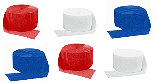 Crepe Paper Streamers for Birthday Party Wedding School Celebrations Decorations (Red White Blue, 6 Rolls) ()