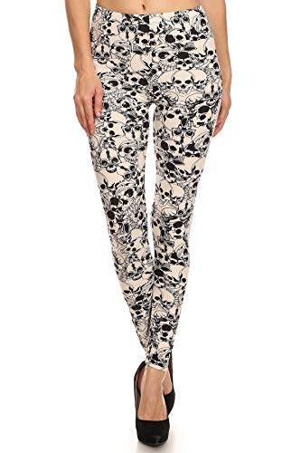iZZYZX Women's Regular Catacombs of Paris Pattern Print Leggings - Halloween White Skull