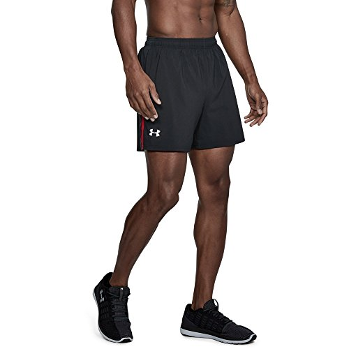 (Under Armour Men's Launch Sw 5'' Shorts, Black /Reflective, Large)