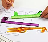 (German Design) Felli -Animal Ruler set. Purple cat+green owl+yellow giraffe. Adorable kids gift (U975346)