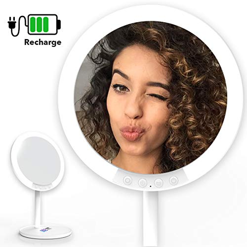 Upgraded Makeup Vanity Mirror w/ 66 LED Lights - Rechargeable 7-Inch Professional Mirror with 66 Pro-Lux LEDs, 180 Degree Rotation for Dimmable Natural Light, 1x-7x Magnifying w/Stand, Travel Mirror