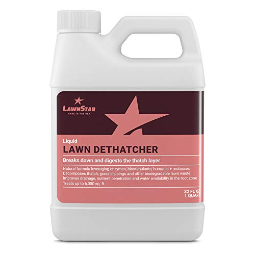 LawnStar Liquid Lawn Dethatcher (32 OZ) - Easy Alternative to Dethatch Rake & Mower - Digests Harmful Thatch Layer - Pair with Liquid Aerator - American Made