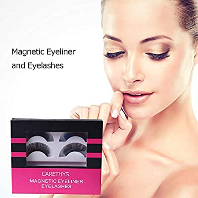 CARETHYS Magnetic Eyeliner With Magnetic Eyelashes, Waterproof Magnetic Liquid Eyeliner With 2 Pair Long Lasting Magnetic False Eyelash,Natural Look,With Tweezers
