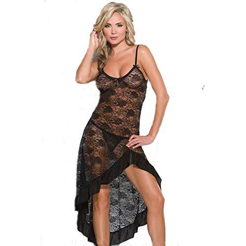 (Lowprofile Women's Chemises Lace Nightwear Babydoll Mesh Sleepwear See Through High Low Nightdress with G-String (S-3XL) Black)
