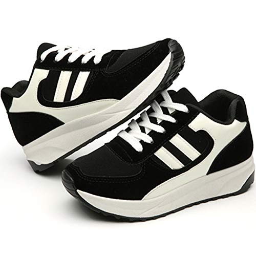 Noir Sneaker Décontractée Baskets Chaussures Gym Anti Fitness Femme Choc Marche de Sport wealsex Plateforme Running 4qa6af