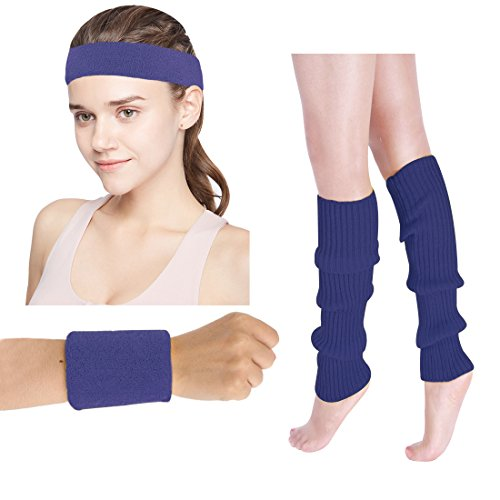 Women's 80s Costumes Accessories Neon Headband Wristband Leg Warmers Set for 1980s Theme Party Supplies(Navy)